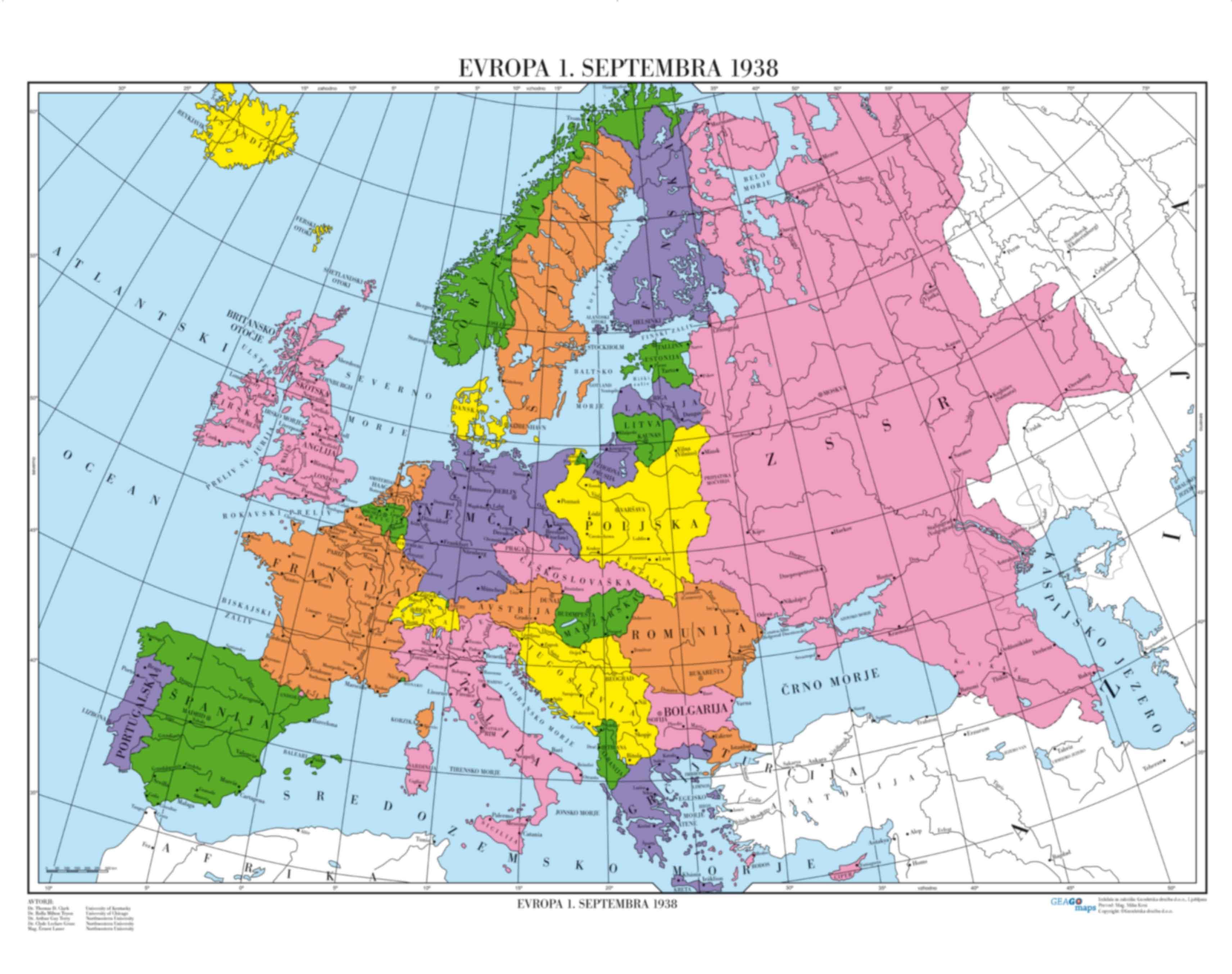 Evropa 1.septembra 1938