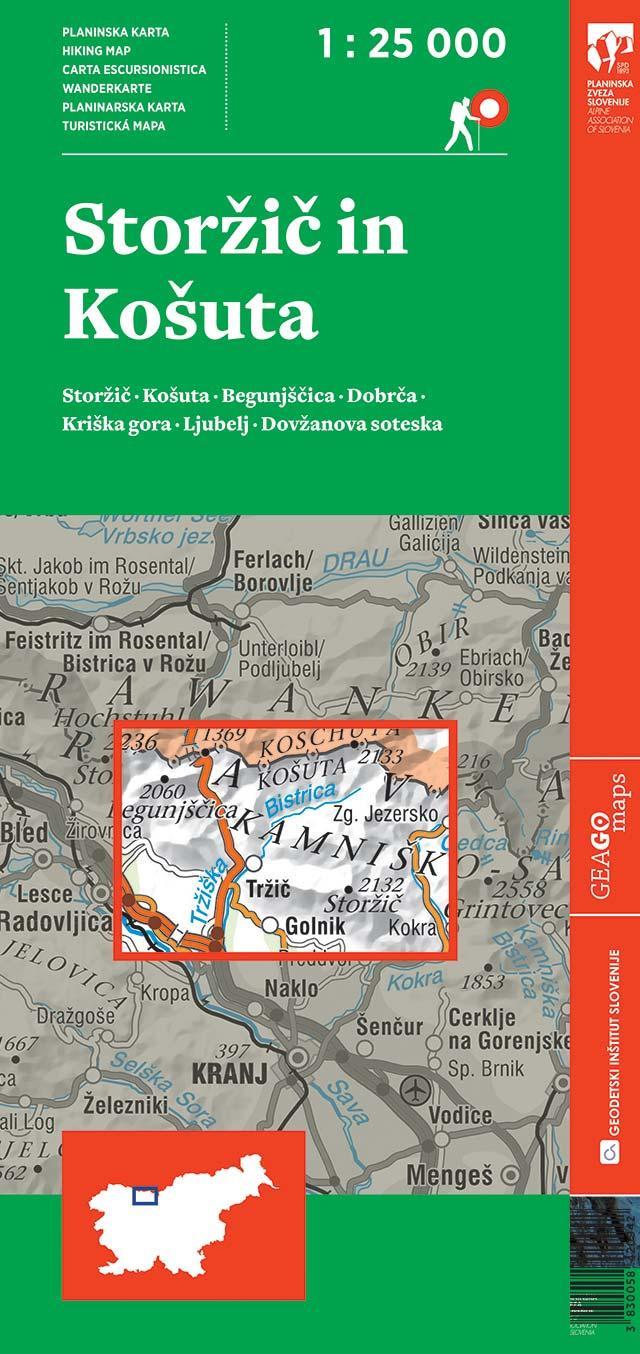 Planinska karta Storžič in Košuta