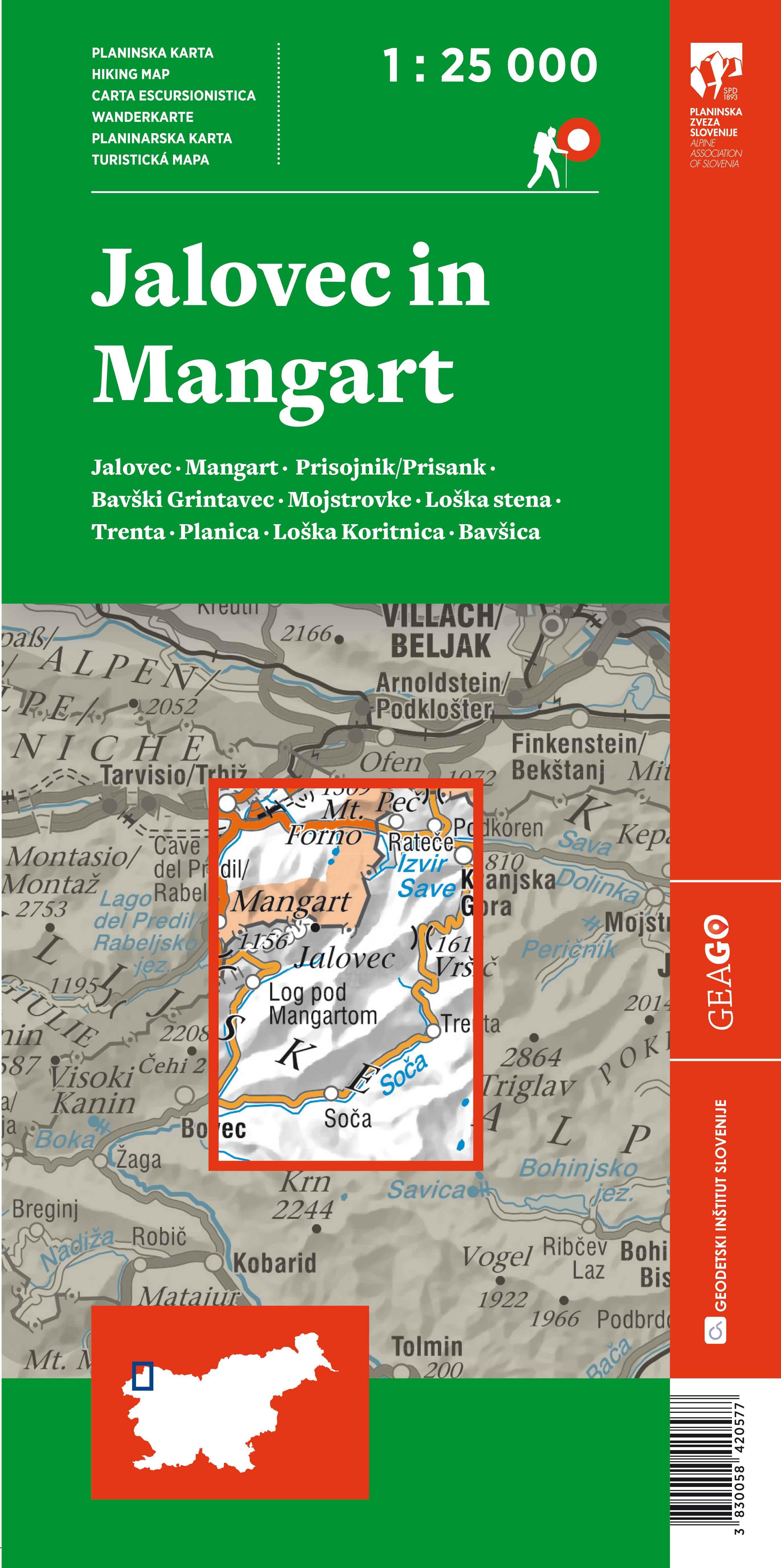Planinska karta Jalovec in Mangart