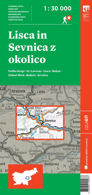 Planinska karta Lisca in Sevnica z okolico