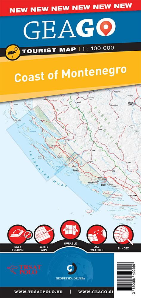 Turistična karta Črnogorsko primorje
