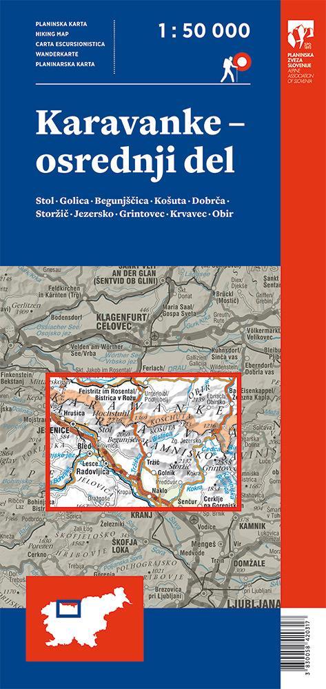 Planinska karta Karavanke - osrednji del
