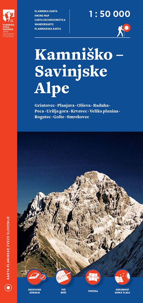 Planinska karta Kamniško-Savinjske Alpe