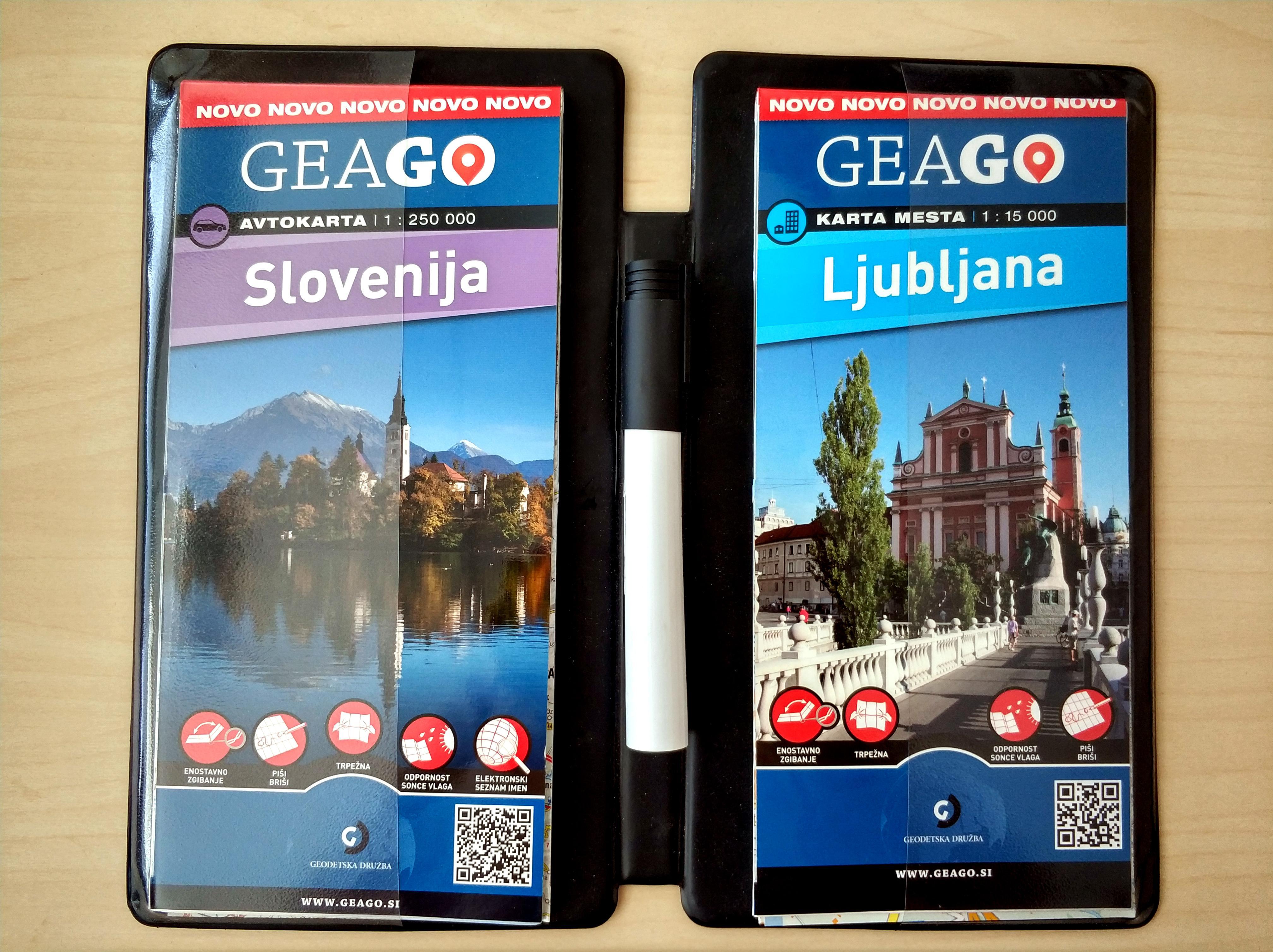 Komplet zemljevidov Slovenija in Ljubljana v priročnem plastičnem, trdem ovitku