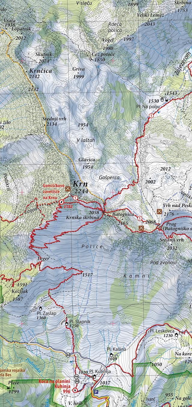 Planinska karta Krnsko pogorje