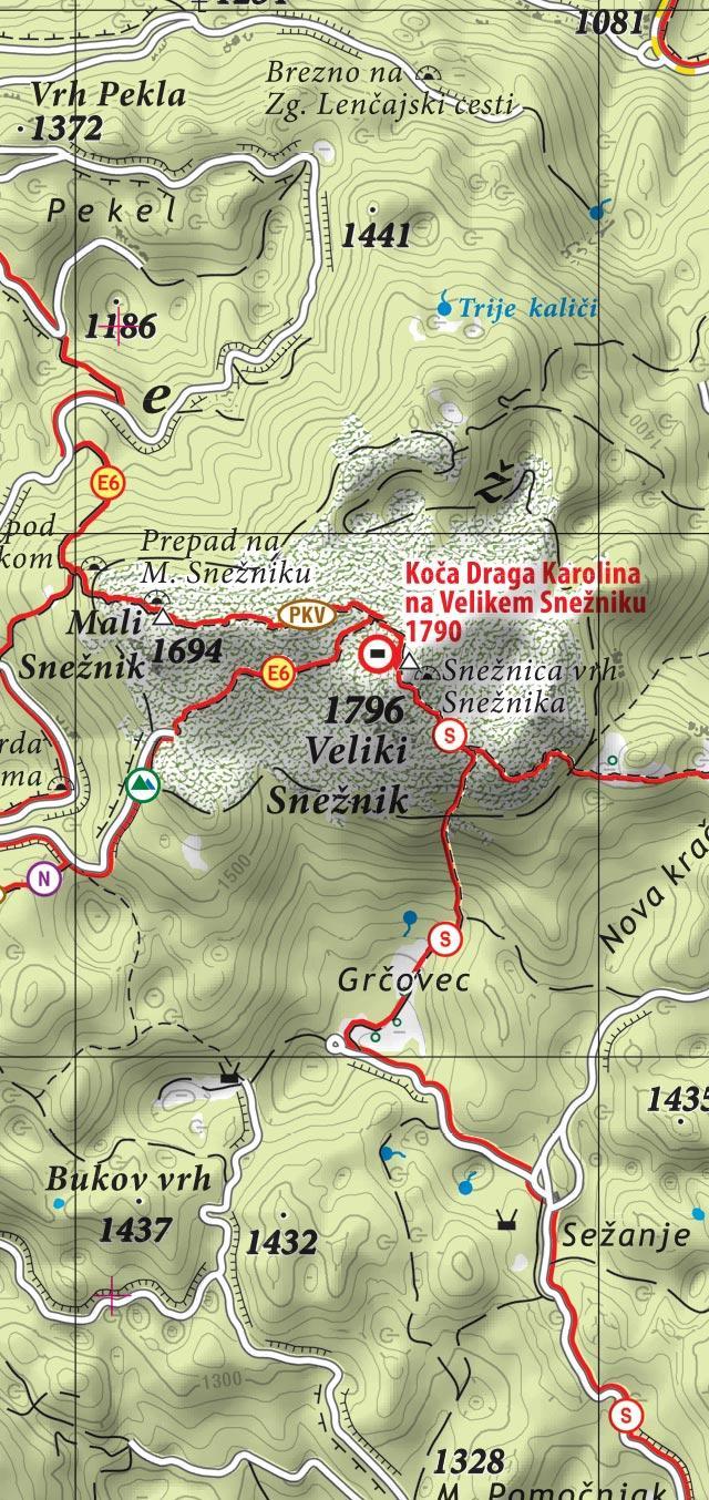 Planinska karta Notranjska s Snežnikom