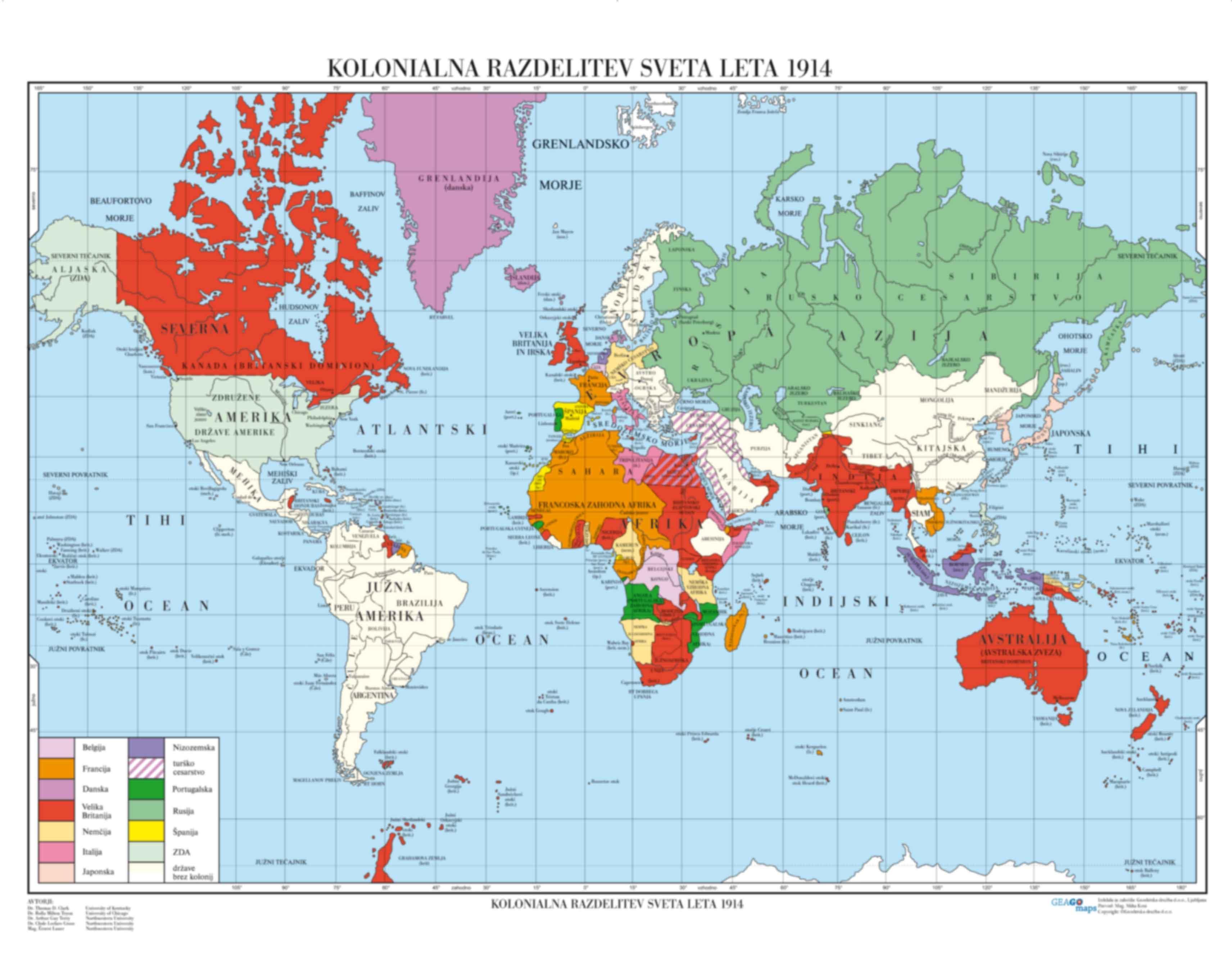 Kolonialna razdelitev sveta leta 1914
