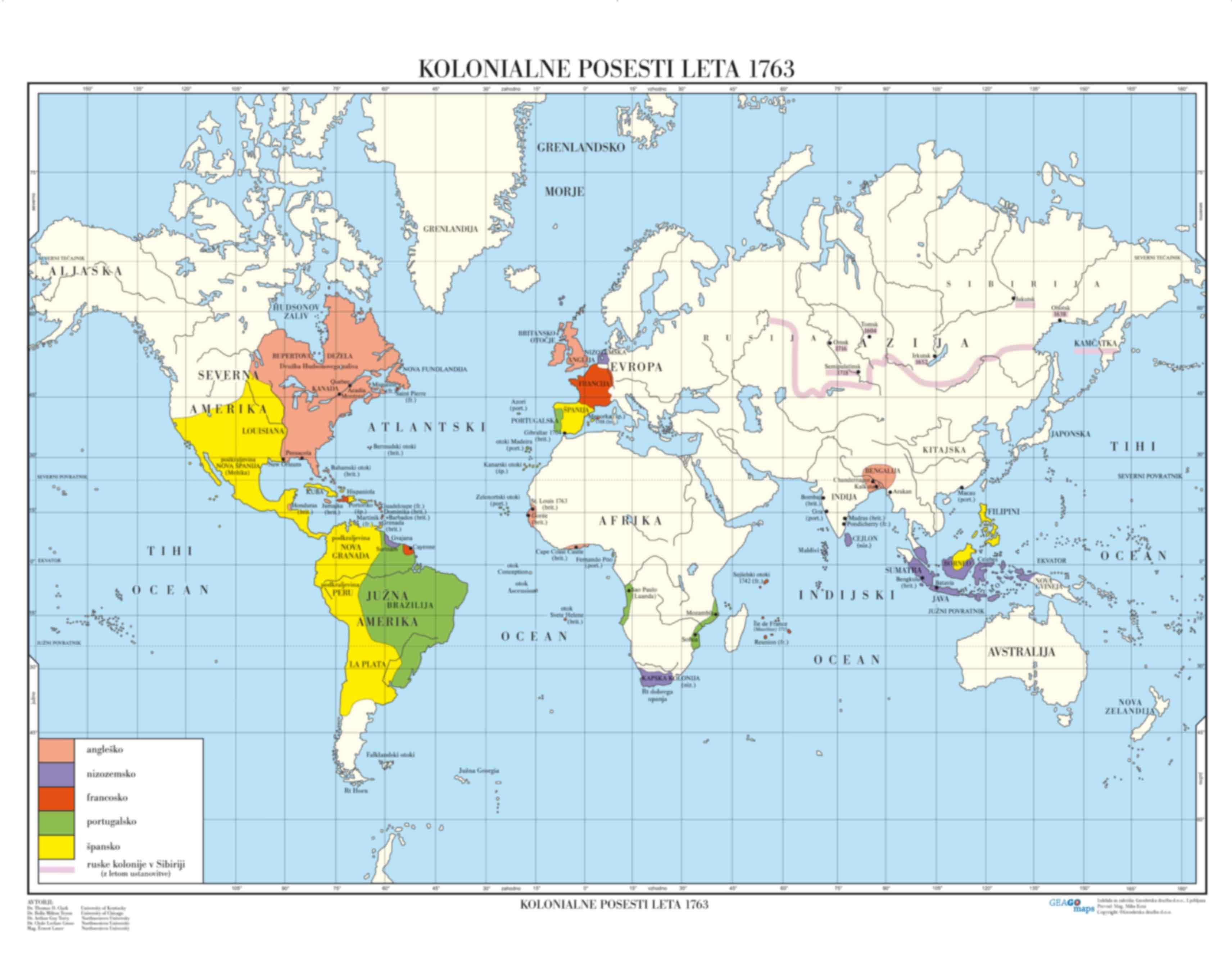 Kolonialne posesti leta 1763