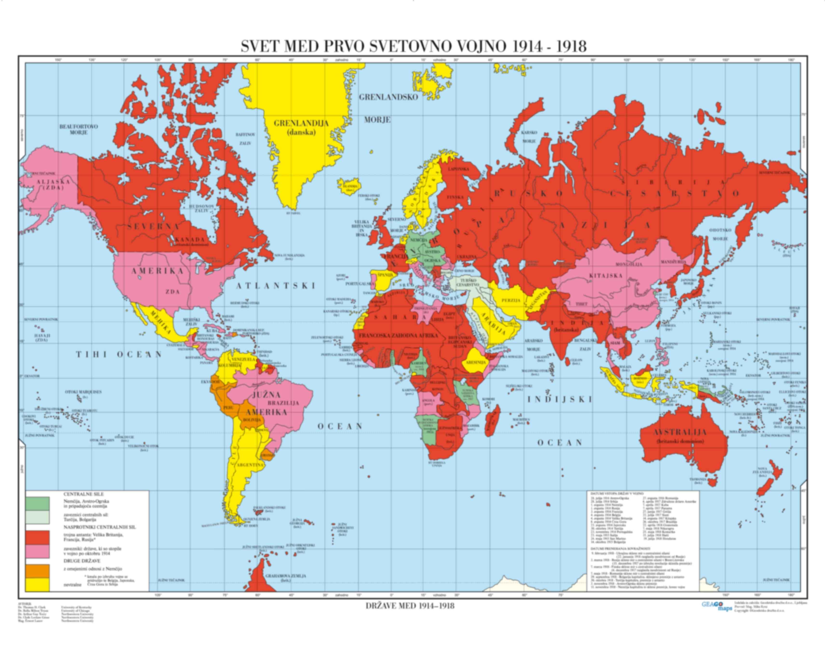Svet med prvo svetovno vojno 1914-1918